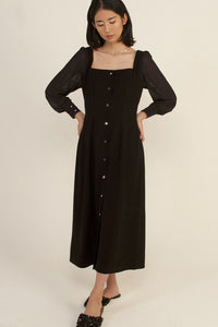 módni Alcea Puff Long Sleeve Dress in Black Modest Sheer Midi Dress With Silver Buttons in Cotton and Polyester