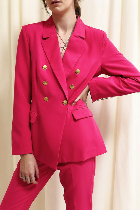 UNIQUE21 Pink Double Breasted Blazer | Modest Loose Long-Sleeved Women's Outerwear With Pockets, Gold Buttons