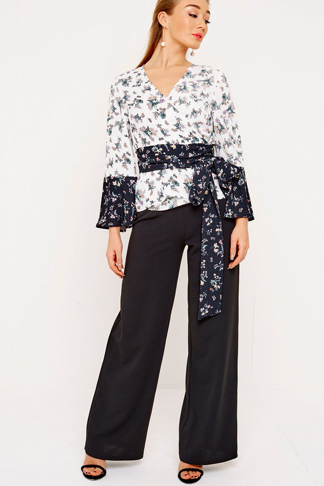 UNIQUE21 Wrap Top Mixed Floral Print Modest Loose Fitted Top with Bell Sleeves and Sash