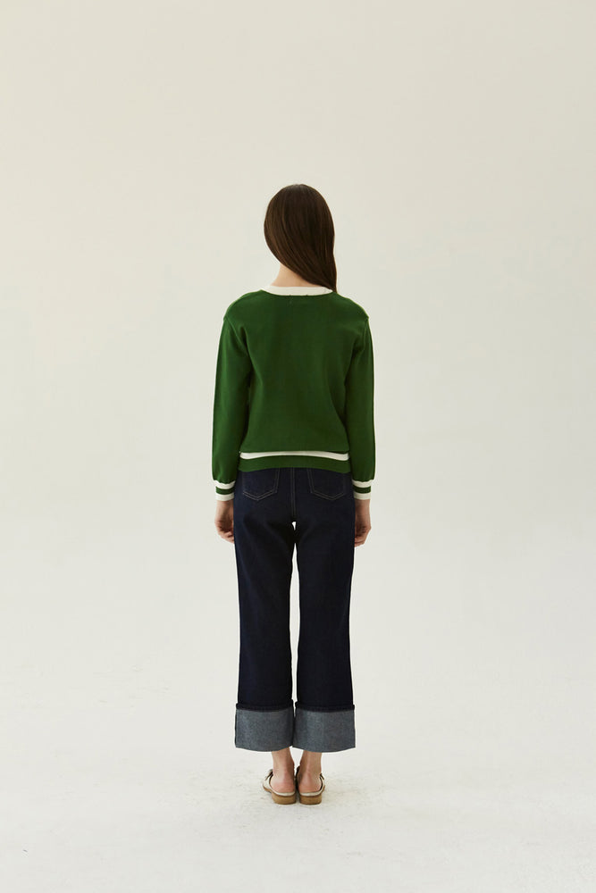 YUPPE Color Cardigan in Green Modest Loose Fitting Cardigan with Front Buttons and White Trim