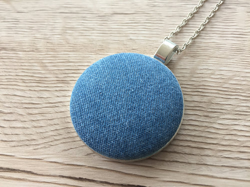 Statement Fabric Necklace Chambray
