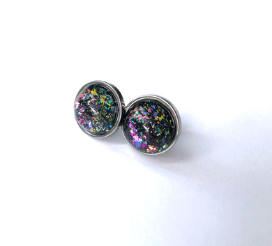 Black Rainbow Glass Studs