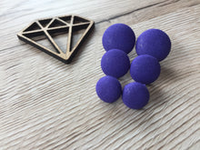 Purple Fabric Button Studs