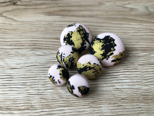 Pale Pink, Gold and Black Leopard Fabric Studs