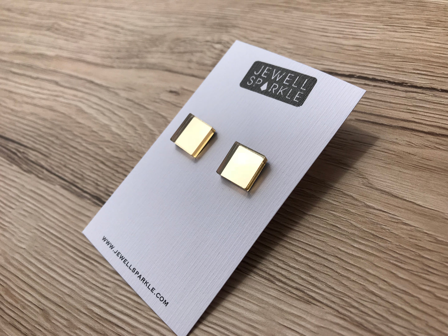 Gold Mirror Square Studs