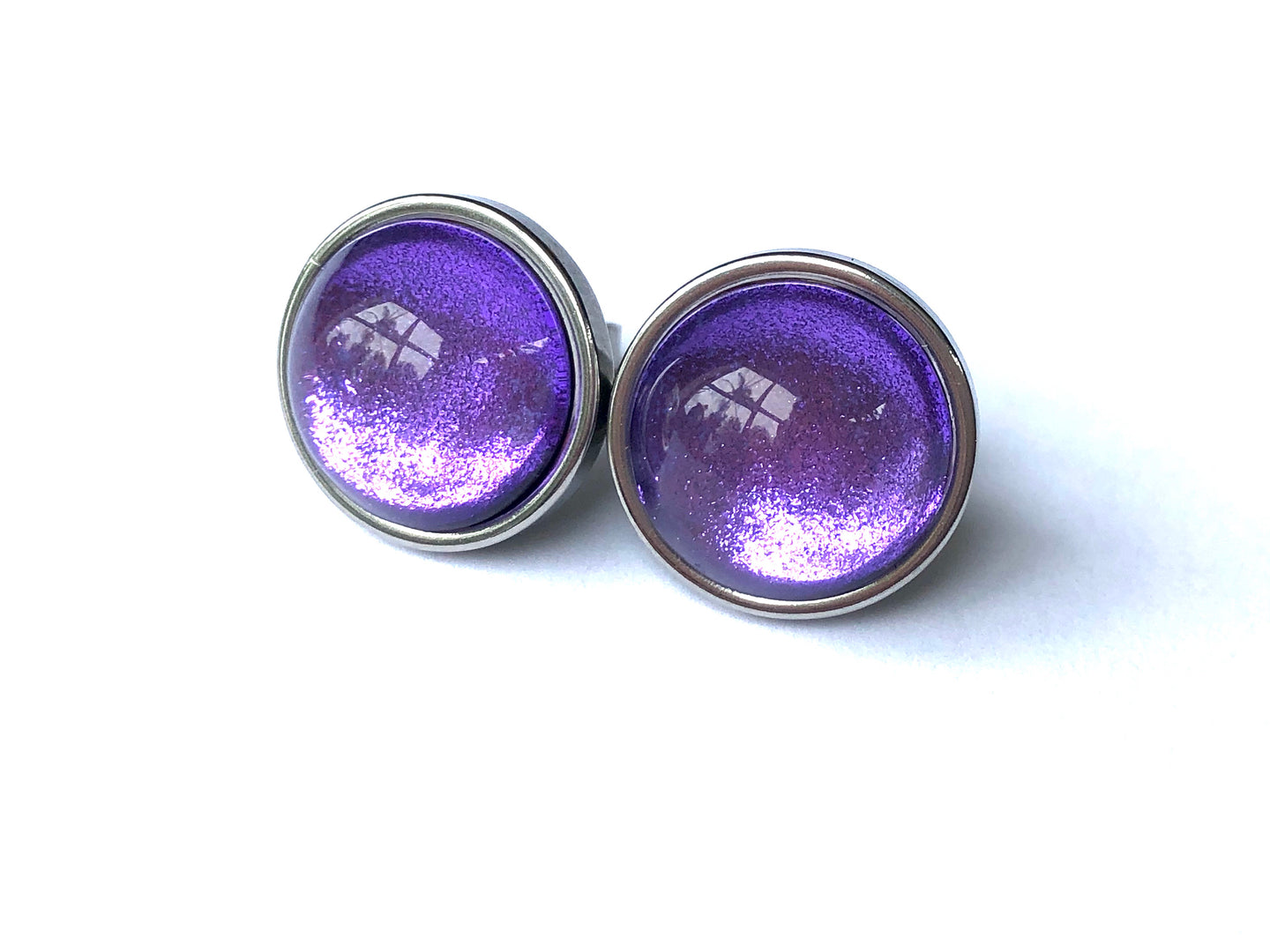 Purple Foil Glass Studs