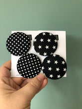 Black and White Star Fabric Studs