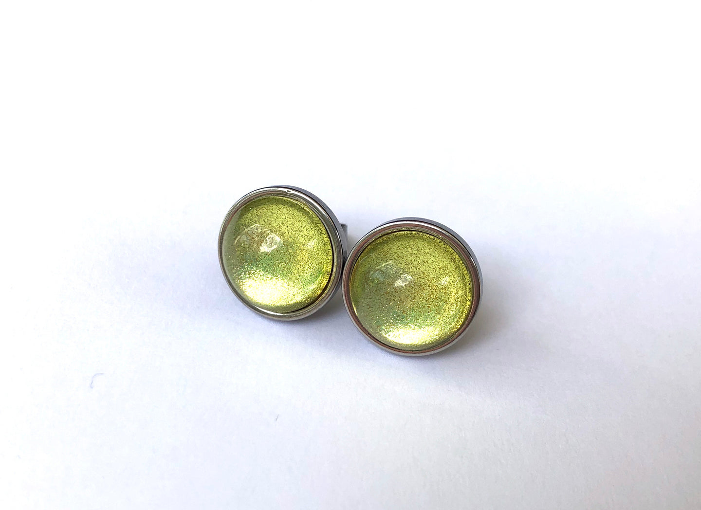 Chartreuse Glass Studs