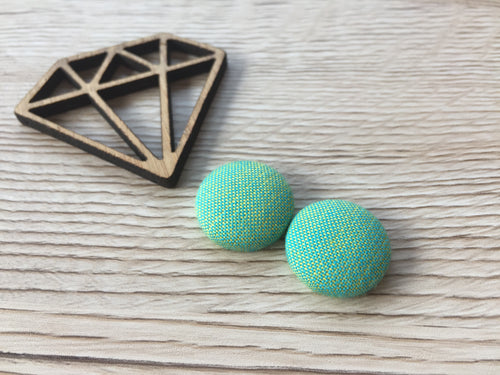 Mint Citrus Fabric Button Studs