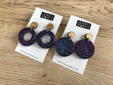 Purple Shift Disc n Donut Dangles Shapeshift Designs Collab