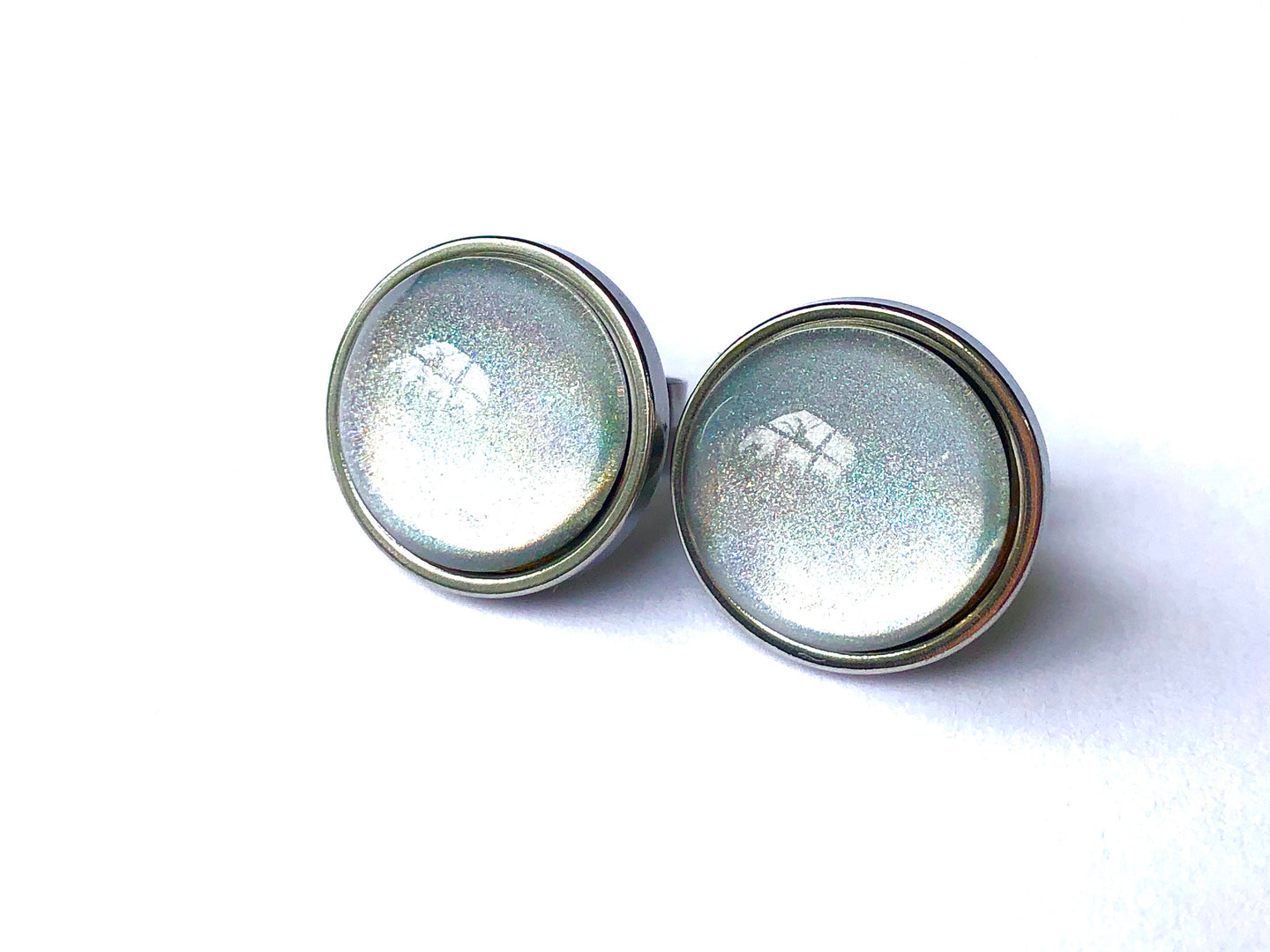 Silver Holographic Glass Studs