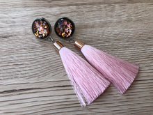 Rose Gold and Black Glass Tassels