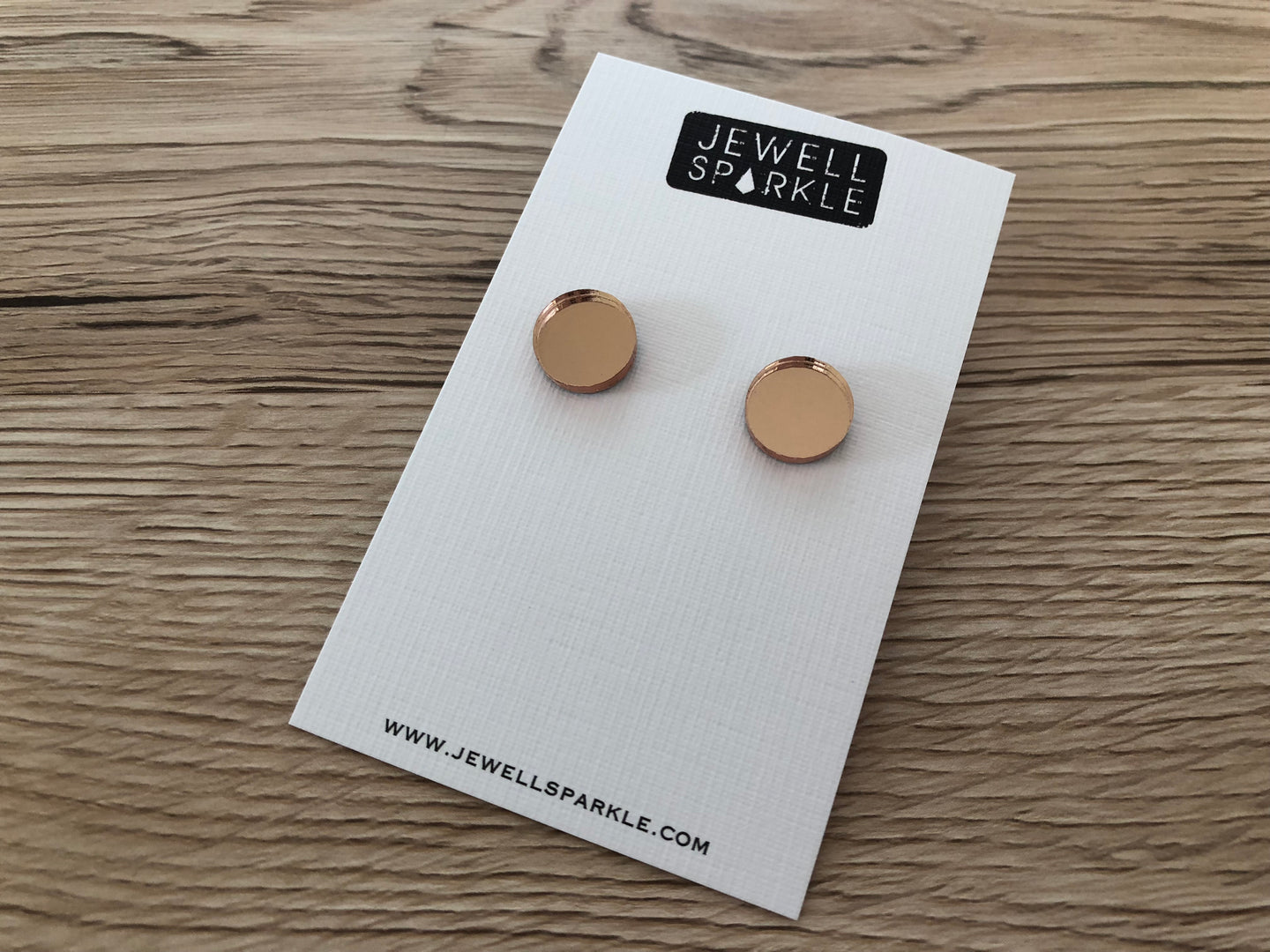 Rose Gold Mirror Circle Studs