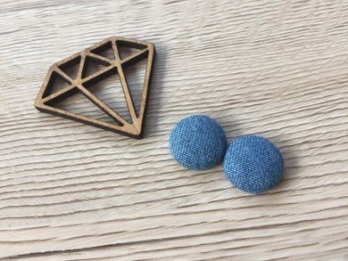 Chambray Fabric Button Studs