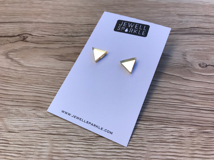 Gold Mirror Triangle Studs
