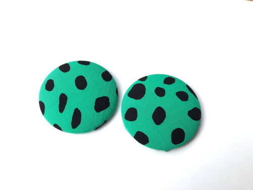 Green Cheetah Fabric Studs