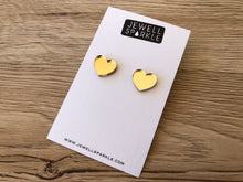 Gold Mirror Acrylic Heart Studs