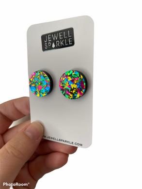 Graffiti Acrylic 20mm Circle Statement Studs