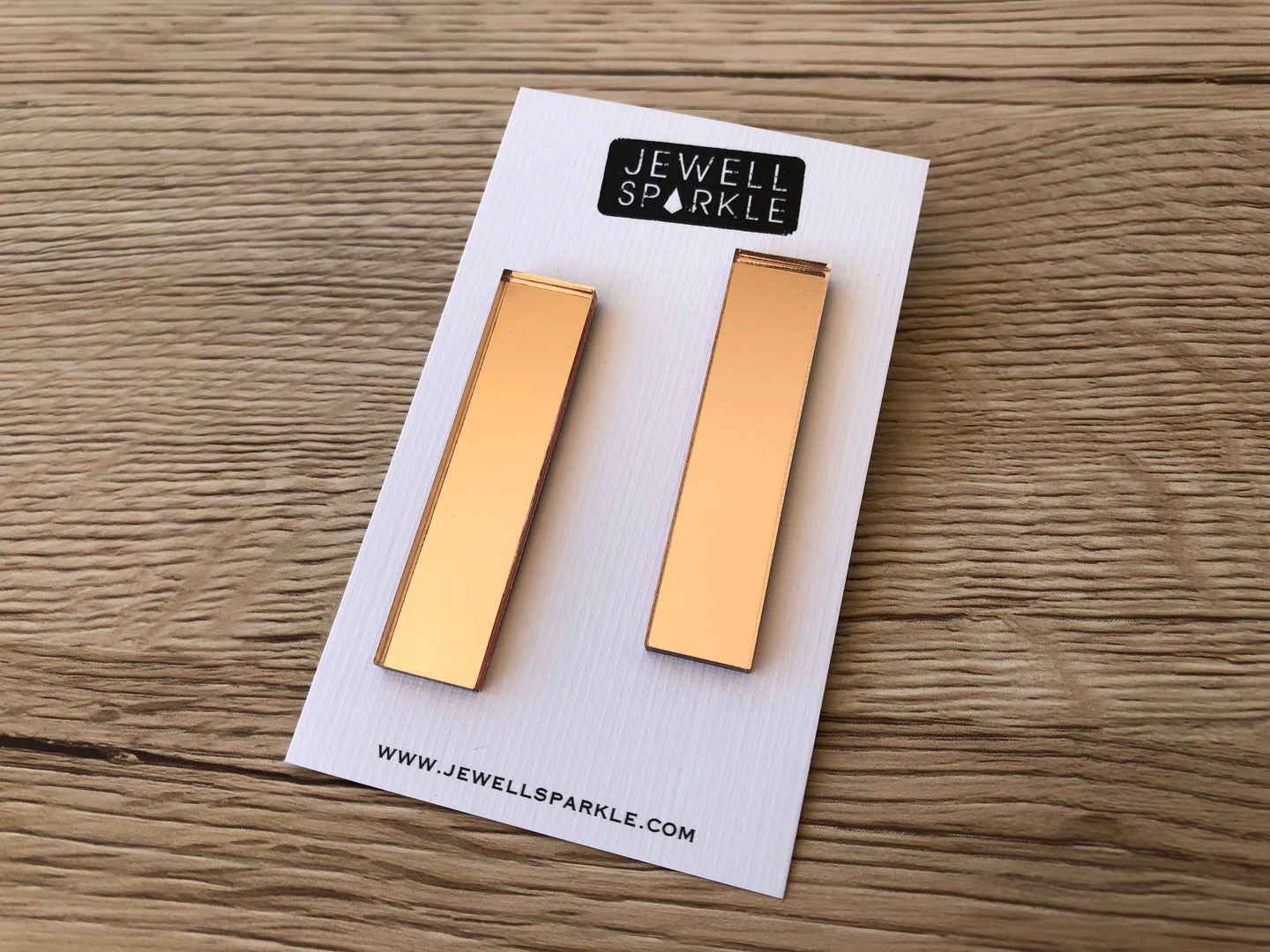 Rose Gold Mirror Acrylic Slim Dangles
