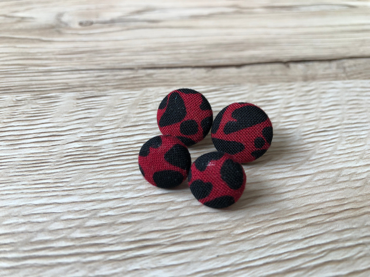 Raspberry Animal Print Fabric Studs