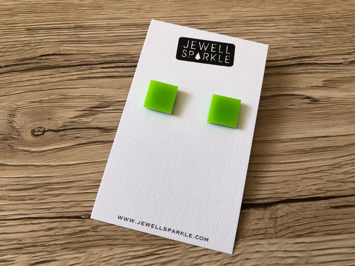Lime Green Acrylic Square Studs