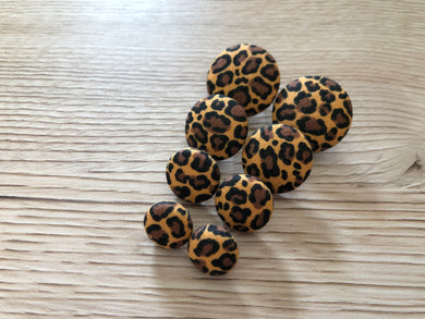 Warm Leopard Fabric Studs