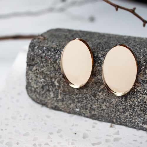 Rose Gold Mirror Acrylic Ovals