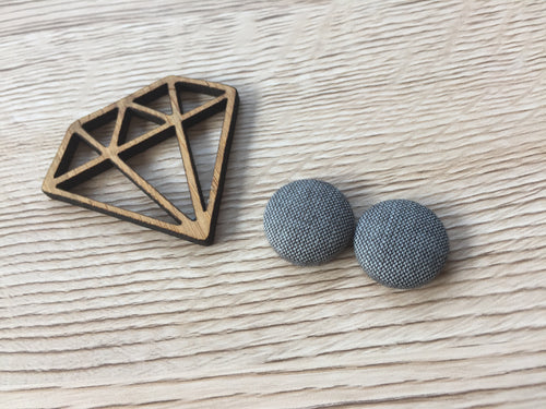Grey Fabric Button Studs