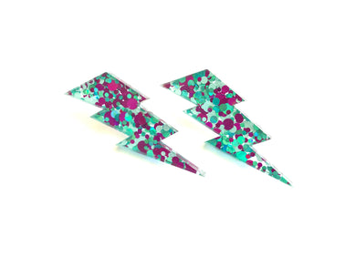 New Romantic Acrylic Lightning Studs