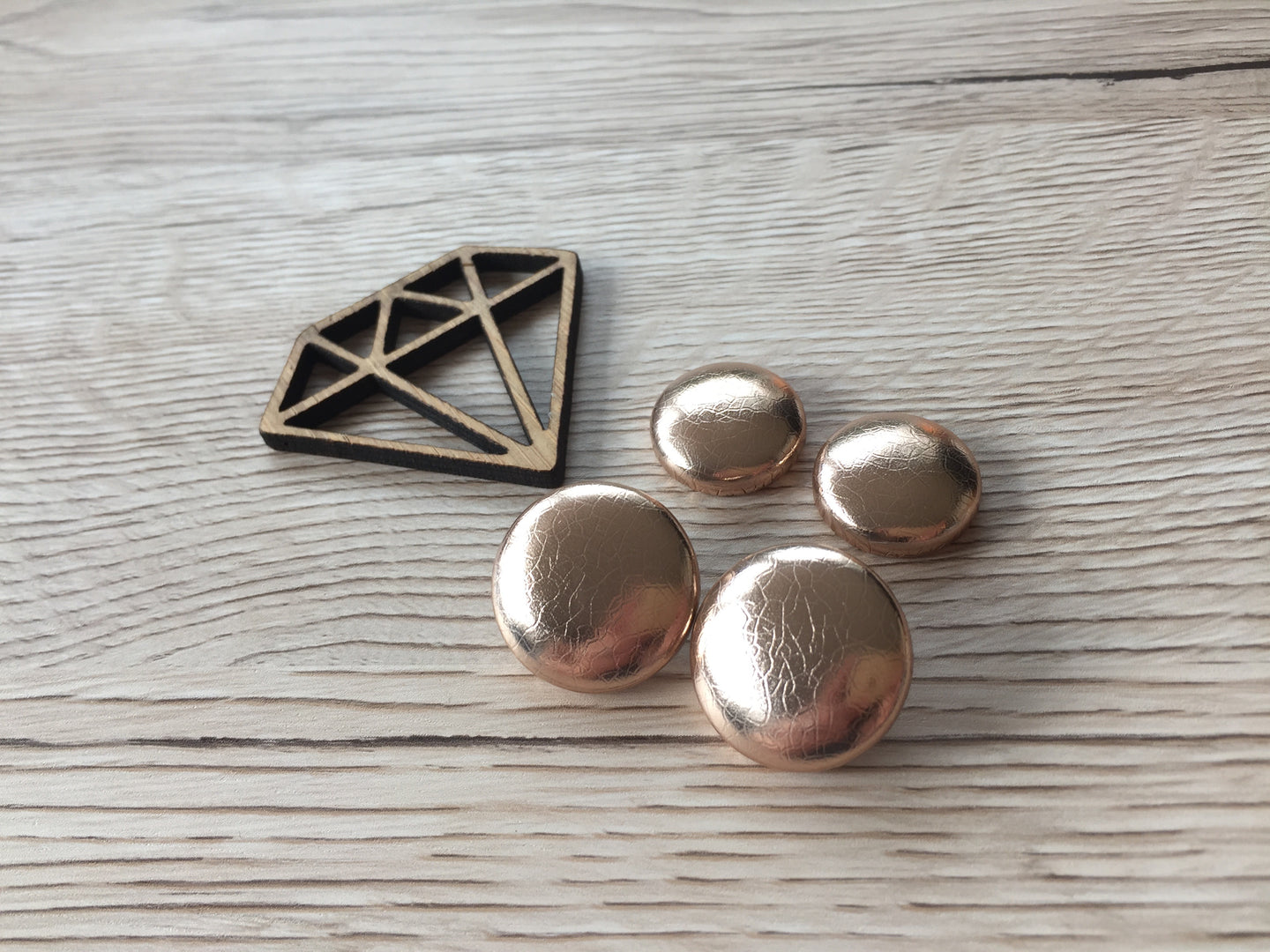 Rose Gold Textured Leatherette Studs