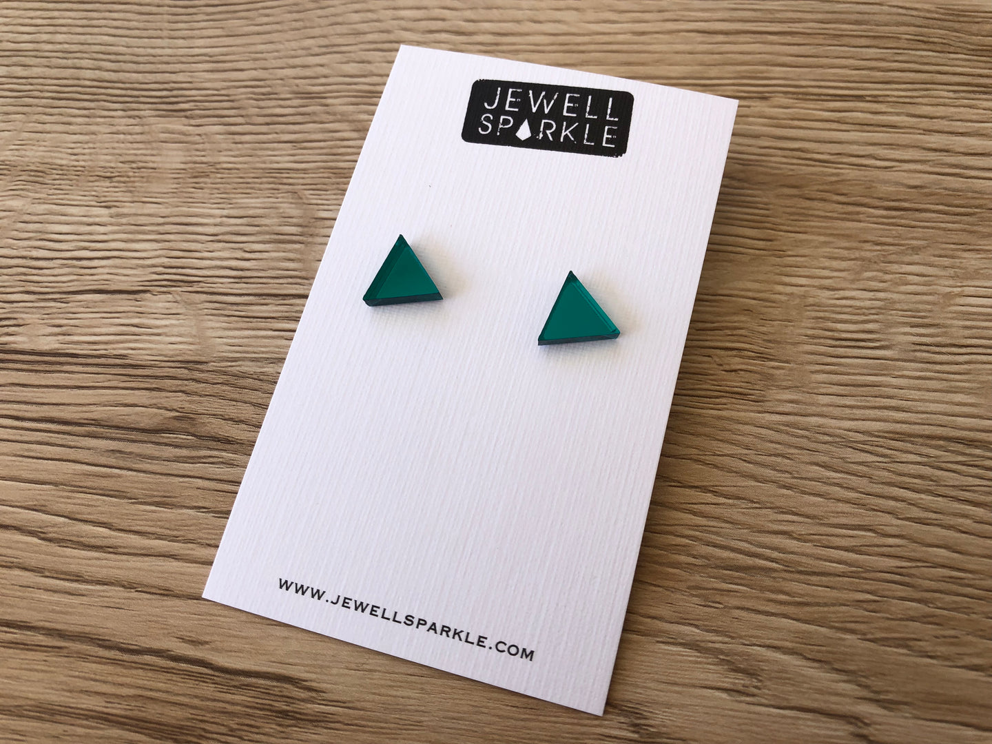 Teal Mirror Acrylic Triangle Studs