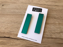 Teal Mirror Acrylic Slim Dangles