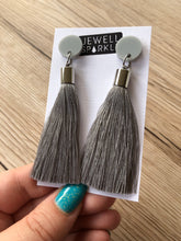 Soft Grey Acrylic and Tassel Dangle