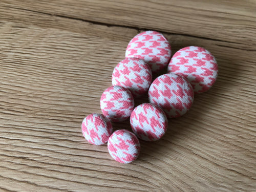 Pink Houndstooth Fabric Studs