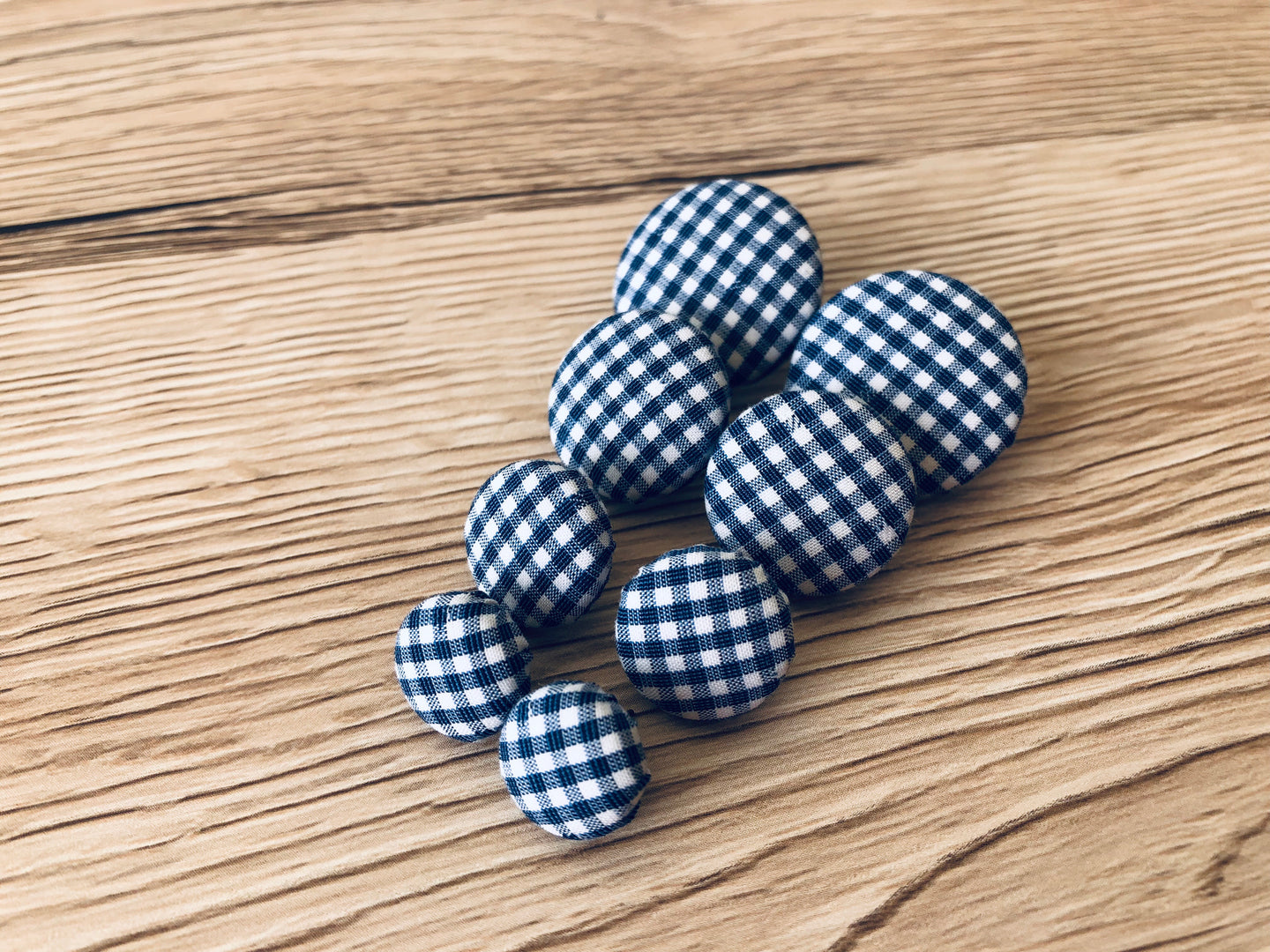 Navy Gingham Fabric Studs
