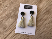 Square & Circle Top Mini Tassel Earrings