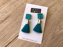LAST PAIR! Square & Circle Top Mini Tassel Earrings