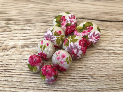 Natural Floral Fabric Studs