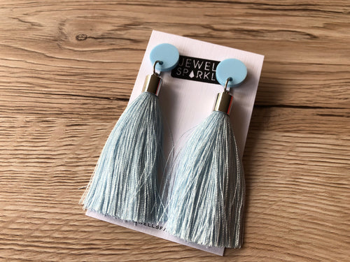 Pastel Blue Acrylic and Tassel Dangle