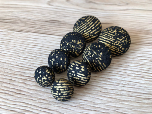 Black and Gold Print Fabric Studs