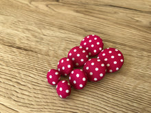Pink and White Polka Dot Fabric Studs