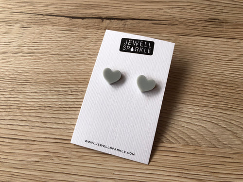 Soft Grey Acrylic Heart Studs
