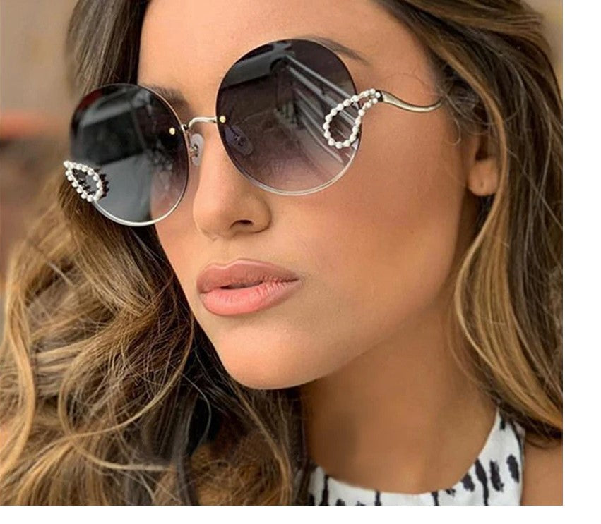2019 Luxury Ladies Rhinestone Rimless alloy frame Sun glass Italy Brand Design
