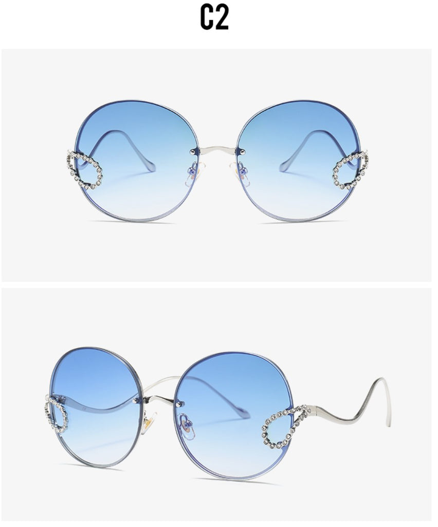 2019 Luxury Ladies Rhinestone Rimless alloy frame Sun glass Italy Brand Design blue gradient color