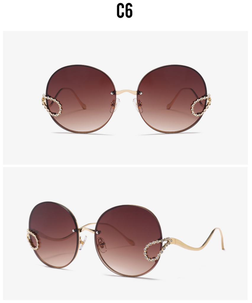 2019 Luxury Ladies Rhinestone Rimless alloy frame Sun glass Italy Brand Design brown gradient color
