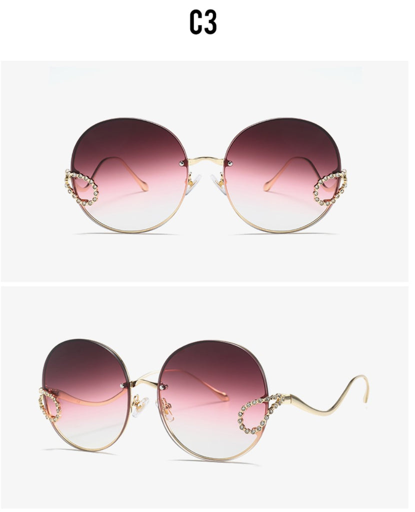2019 Luxury Ladies Rhinestone Rimless alloy frame Sun glass Italy Brand Design dark red color