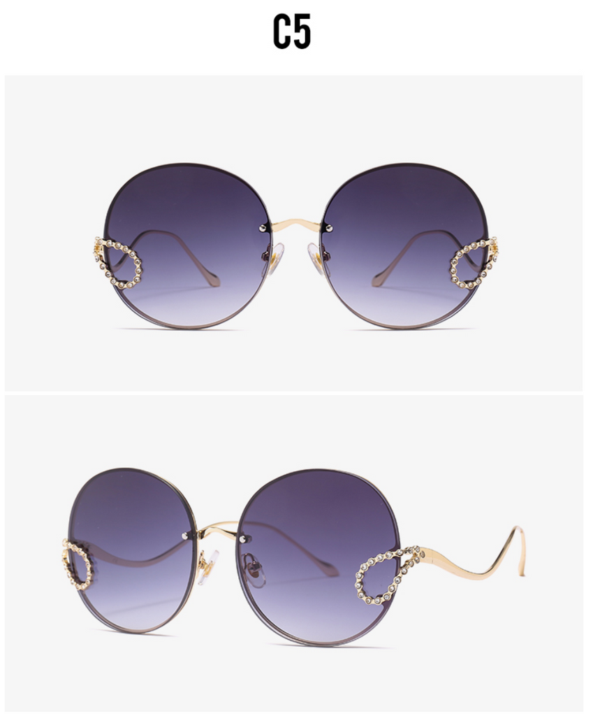 2019 Luxury Ladies Rhinestone Rimless alloy frame Sun glass Italy Brand Design Gray gradient color