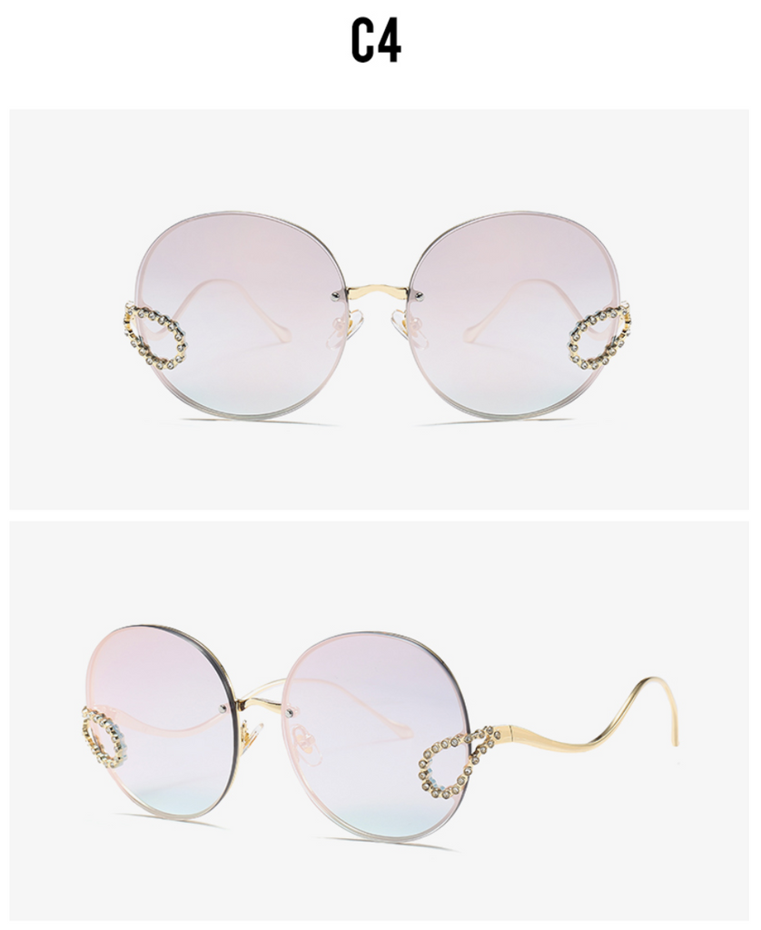 2019 Luxury Ladies Rhinestone Rimless alloy frame Sun glass Italy Brand Design pink color