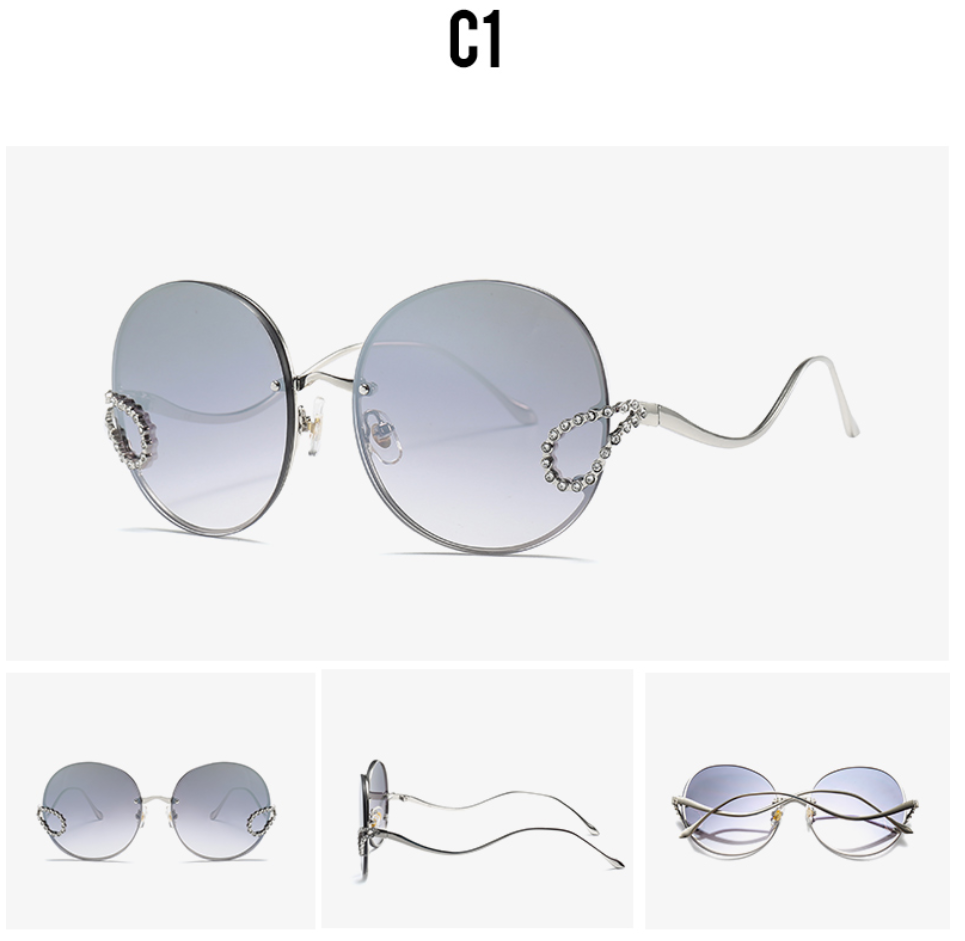 2019 Luxury Ladies Rhinestone Rimless alloy frame Sun glass Italy Brand Design silver color