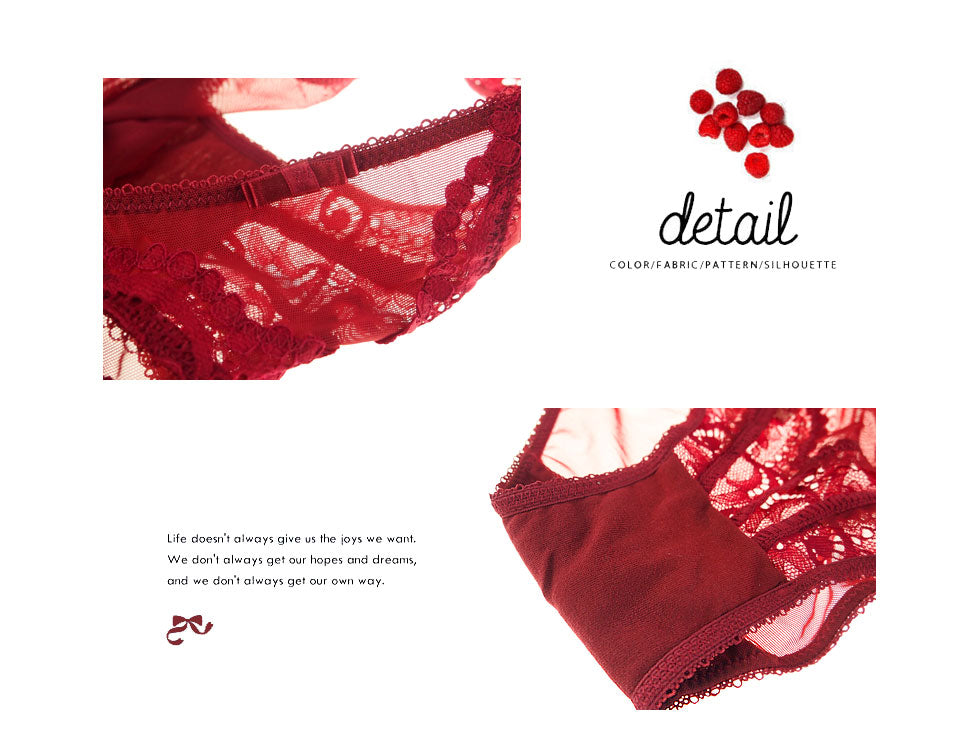 Bra panty Garter set red